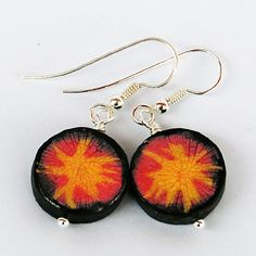 Handpainted and crackled paper bead earrings