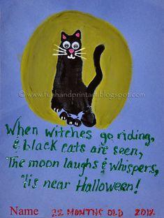 Cute Halloween craft for kids - make a footprint black cat! It also has a cute Halloween poem for kids.