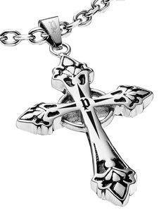 Edelstahl Anhänger Schild mit Kreuz Wappen Design Silber Grau