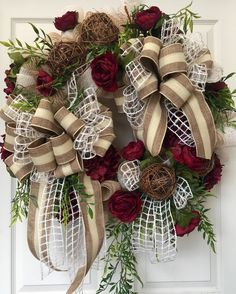 Everyday Wreath Non seasonal Beige Mesh Wreath by WilliamsFloral