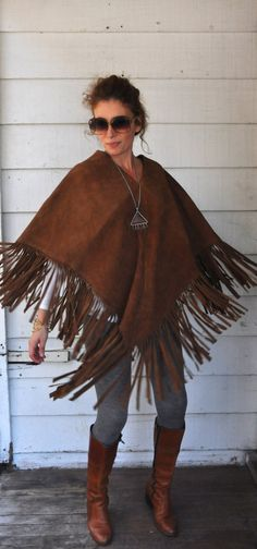 Fringed LEATHER Poncho Cape // Suede Leather // by ItaLaVintage