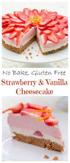 No Bake Strawberry And Vanilla Cheesecake