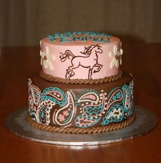 Cowgirl baby shower or party cake love the pink, brown and turquoise!!!!!!
