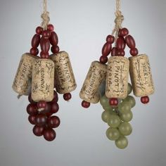 KSA Club Pack of 12 Tuscan Winery Cork and Grape Cluster Christmas Ornaments 5""