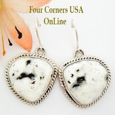 Four Corners USA Online - White Buffalo Turquoise Sterling Silver Earrings by Emma King Native American Silver Jewelry NAER-1456, $155.00 (http://stores.fourcornersusaonline.com/white-buffalo-turquoise-sterling-silver-earrings-by-emma-king-native-american-silver-jewelry-naer-1456/)