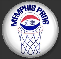 "MEMPHIS PROS ABA CLASSIC BUTTON.  YOU MAY REQUEST THIS AS A button OR magnet all my buttons are steel with a Mylar coating and are 1"" in diameter. Should YOU WANT THESE OR ANY OTHER CUSTOM BUTTONS OR MAGNETS--GET AHOLD OF ME VIA HOTMAIL at UNFINISHEDPORCELAIN"