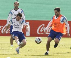 Lionel Messi of Argentina kicks the ball during an Argentina training...