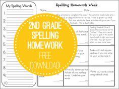 Weekly spelling homework practice- free download! http://www.secondstorywindow.net/home/2012/07/spelling-home.html