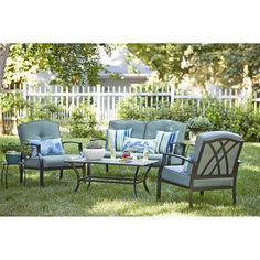 Garden Treasures Cascade Creek 4-Piece Conversation Set  Cascade Creek 4-Piece Conversation SetSet includes:(2) Steel Patio Chairs with Cushions: 31.5-in