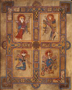 Image of Folio with the four evangelist symbols from the en:Book of Kells, a 1200 year old book. Scanned from: Meehan, Bernard; The Book of Kells': an illustrated introduction to the manuscript in Trinity College Dublin. The Secret Of Kells, Book Of Kells, Medieval Manuscript, Medieval Art, Illuminated Letters, Illuminated Manuscript, Arte Latina, Trinity College Dublin, Trinity Library