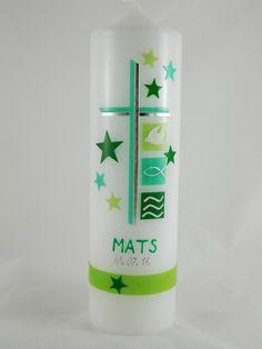 """Taufkerze 250x70mm  Die Kerzenrohlinge für meine Taufkerzen sind aus Deutscher Produktion und tragen das RAL-Gütezeichen.  Kerzenhalter für Taufkerzen finden Sie in meinem Shop unter """"Zubehör"""""""