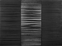 Pierre Soulages, Painting, 2009, 181 x 244 cm, acrylic on canvas, (3 canvas) 181 x 81 cm each (Musée des Beaux-Arts, Lyon)