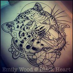 Emily Wood. Blackheart. Leopard Head Tattoo