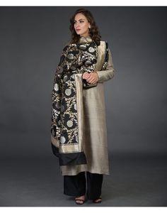 Black Floral Sona Roopa Banarasi Zari Hand Woven Pure Silk Dupatta
