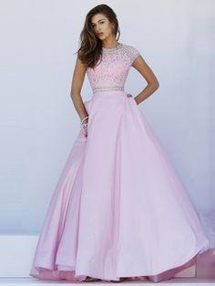 Ball Gown Short Sleeves Jewel Taffeta Beading Sweep/Brush Train Dresses - Long Prom Dresses - Prom Dresses