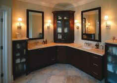 Custom l shaped bathroom cabinets double sink | Decolover.net