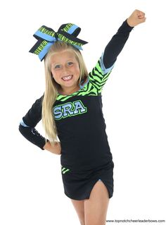 Neon Zebra Big Cheer Bows, Cheerleader Bows