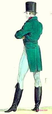 1814 Gentleman's Outfit, French. Green tailcoat, tight fitting trousers tucked into high black boots and wearing a top hat. Fashion Plate via Costume Parisienne. suzilove.com