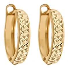 14K Yellow Gold Diamond Cut Hinged Hoops  Select Jewelry™ 14K Yellow Gold Diamond Cut Hinged Hoops       Please report any items that arrive damaged within 72 hours.          UNWORN can be returned within 30 days