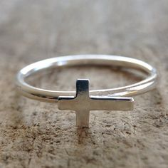 Cross Ring Faith Jewelry Stackable Ring Sterling by TesoroDelSol