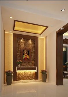 Resultado de imagen de christian prayer room designs for home Foyer Design, Design Hall, Altar Design, Pooja Room Door Design, House Design, Prayer Corner, Prayer Wall, Prayer Room, Home Altar Catholic