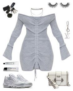 """""""Untitled #745"""" by za-r-ia ❤ liked on Polyvore featuring Prada, L:A Bruket, NIKE, Bobbi Brown Cosmetics, Velour Lashes and Louis Vuitton"""