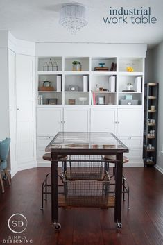 DIY Industrial Work Table - this insustrial work table incorporates beautiful rustic barn wood and metal details
