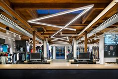 Arc'teryx opens flagship store in downtown Vancouver this Saturday Downtown Vancouver, North Vancouver, Large Pendant Lighting, Suspended Lighting, Pendant Lights, Retail Interior, Retail Space, Simple Elegance, Store Fronts