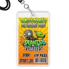 Plants vs Zombies Video Game VIP Pass or Invitation Lanyard (5 pcs) Birthday Custom PERSONALIZED