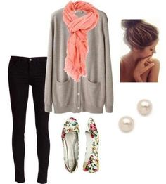 Gray and pink with florals. Cute winter outfit.