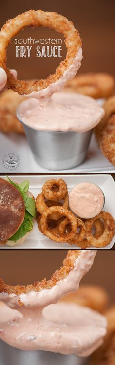 This spicy Southwestern Fry Sauce takes only minutes to prepare and makes a great dip for your fries or onion rings and tastes outstanding on a burger. Onion Ring Sauce, Onion Rings Dipping Sauce, Onion Rings Recipe, Dipping Sauces, Burger Sides, Side Dishes For Burgers, Sauces For Burgers, Healthy Sides For Burgers, Southwest Sauce