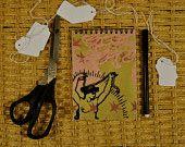 Carnet calepin bloc-note spirale papier dessin voyage moleskine, sérigraphié à la main, Vanité, série limitée / Cadeau papeterie