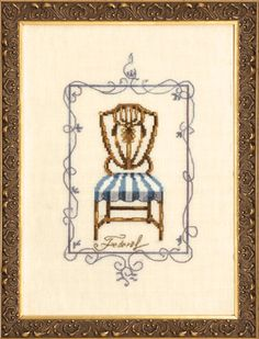 FEDERAL (NC180) The fourth and final design from the 'Sitting Pretty Collection' showcases a candelabra framed chair with a blue and white striped cushion. Stitched on 32ct White Chocolate Linen.