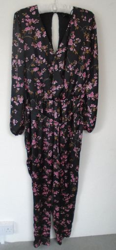 4dc13251a26 New Tagged Lipsy Jumpsuit Size 16 Black Satin Pink Blossom Floral Smart  Regular  fashion