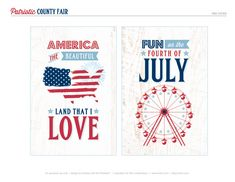 Free All American County Fair July 4th Printables