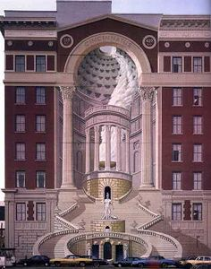 """I saw the artist paint this when I worked for Kenner Toys, across the street. It was painted by artist named Richard Haas on the facade of the Brotherhood building in Cincinnati, Ohio in year 1983. This Mural is real example of trompe l'oeil (""""to deceive the eye"""")."""