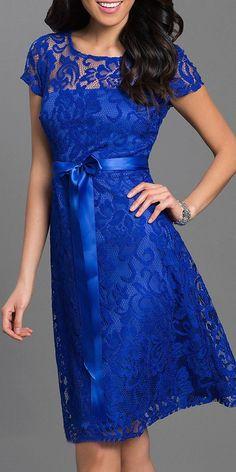 66de6af8455 Knee Length Short Sleeve Lace Dress Peach Ribbon Bow Blue Dress With  Sleeves, Royal Blue