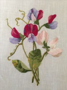 Another Linen block with silk sweet peas