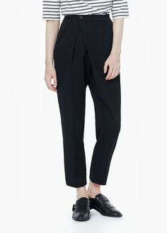 Wrapped baggy trousers - Pants for Women   MANGO