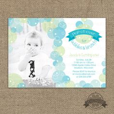 Bubble Birthday Party Invitation - Pop on Over for Bubbles and Brunch - Bubble Party Invite