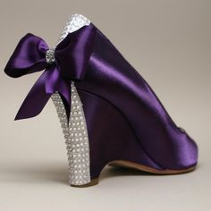 Wedding Shoes -- Purple Wedding Wedges with Purple Bow and Swarovski Rhinestone Heel. $215.00, via Etsy.