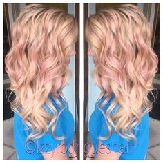 Blonde hair with Subtle pink highlights #aveda