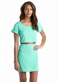 Fire Short Sleeve Lace Top and Skirt Set - Don't forget to wear green on St. Patrick's Day!