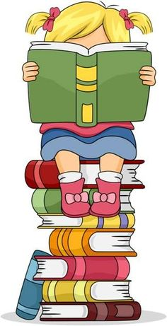 Little Kid Girl Reading a Book Sitting on Pile of Books Clip Art School Murals, Kids Library, School Clipart, Borders For Paper, School Decorations, Girl Reading, Reading Comprehension, Classroom Decor, Kids Girls