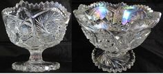 "Iridescent Pattern Glass Pedestal Bowl (5""H x 6""W)"