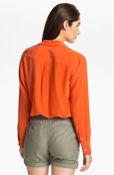 10b696a9d22 Lyst Two by vince camuto Silk Utility Shirt in Orange