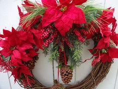 Christmas Wreath Holiday Wreath Wreath Christmas Wreath Poinseitta Wreath Pine Cone Wreath Faux Wreath Christmas Gift by donnahubbard on Etsy Wire Wreath Frame, Twig Wreath, Green Wreath, Wreath Crafts, Door Wreath, Berry Wreath, Christmas Swags, Holiday Wreaths, Christmas Decorations