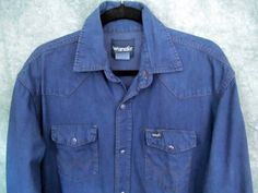 Wrangler Navy Blue Western Shirt LT Lrg Tall Pearl Snaps Rockabilly 49 Chest VTG #Wrangler #Western