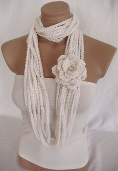 Crocheted Scarf, Infinity Rope Scarf, Chain Scarf (White) by Arzu's Style by Arzu's Style