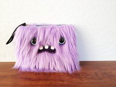 Small Lavender Monster Pouch Two Turquoise by ShopGhoulieGirls, $20.00